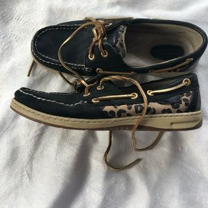 Sperry top sider leopard detail shoes